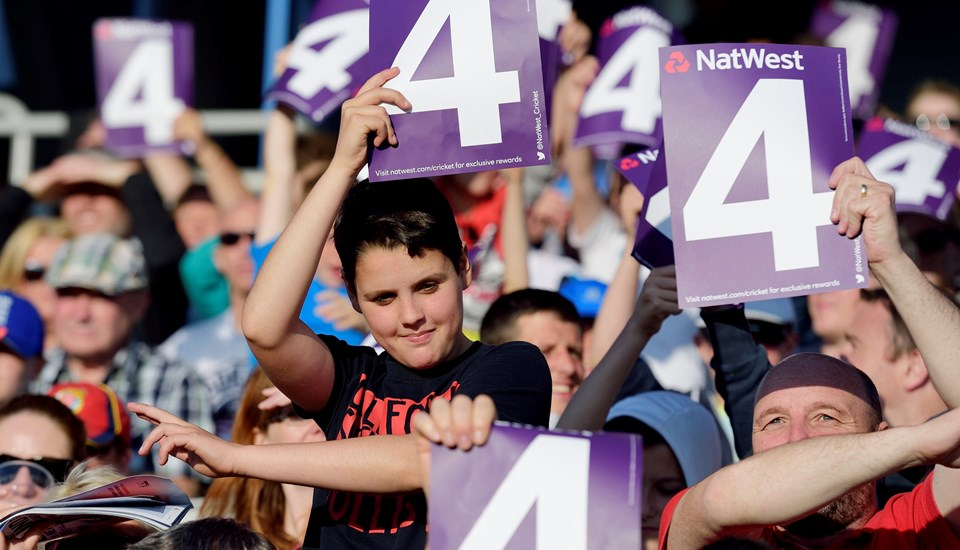 Kids celebrate during the T20 cricket competition in Manchester, Emirates Old Trafford.jpg