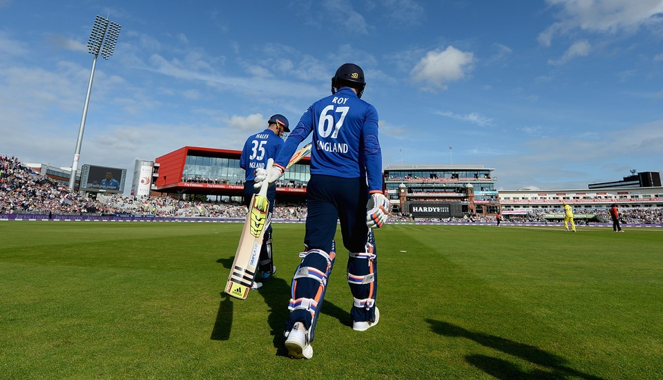 Alex Hales and Jason Roy walk onto the field at Emirates Old Trafford to take on Australia.jpg