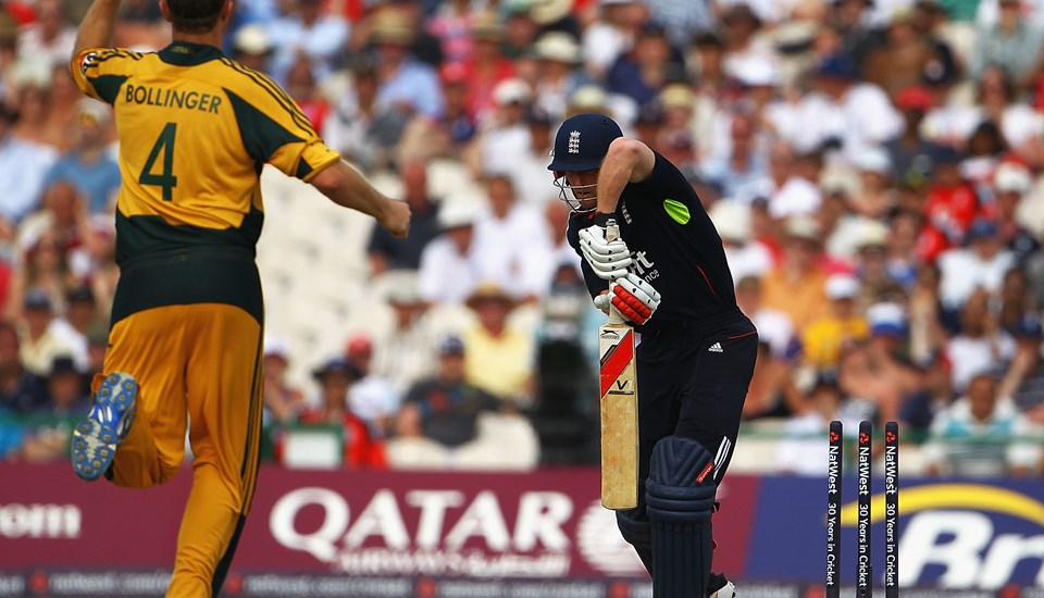 Paul Collingwood of England is bowled by Doug Bollinger of Australia.jpg