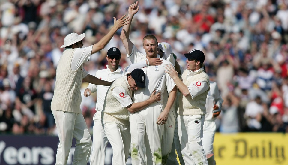 Andrew Freddie Flintoff takes a wicket in the Ashes Test Match at Emirates Old Trafford.jpg