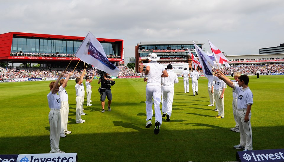 England take to the field during the 3rd Ashes Test match at Emirates Old Trafford cricket ground.jpg