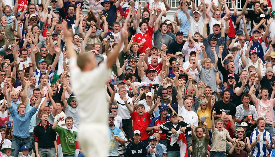 The Emirates Old Trafford crowd celebrates a wicket with Freddie Flintoff.jpg