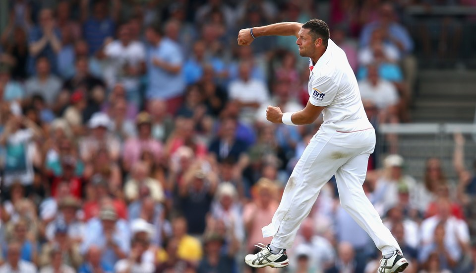 Tim Bresnan takes a wicket in the Ashes test.jpg