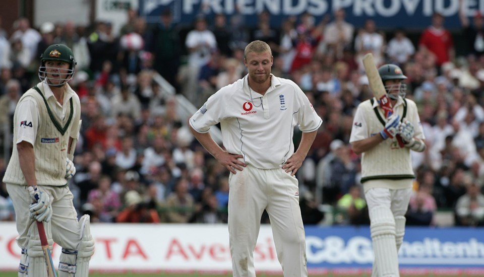 Andrew Flintoff looks dejected during Day Five of the Ashes Test between England and Australia at Emirates Old Trafford Cricket Ground.jpg