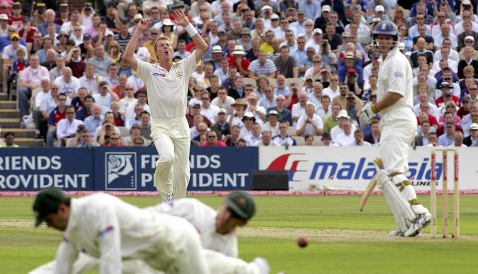 Brett Lee reacts as Andrew Strauss is almost dismissed in the 2005 Ashes Test.jpg