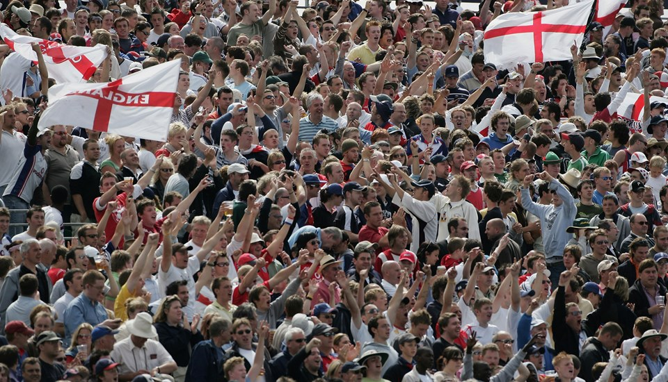 England cricket fans look on during the Ashes Test match at Emirates Old Trafford in 2005.jpg