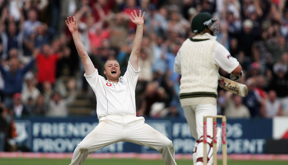 Freddie Flintoff celebrates taking the wicket of Shane Warne in the Ashes.jpg