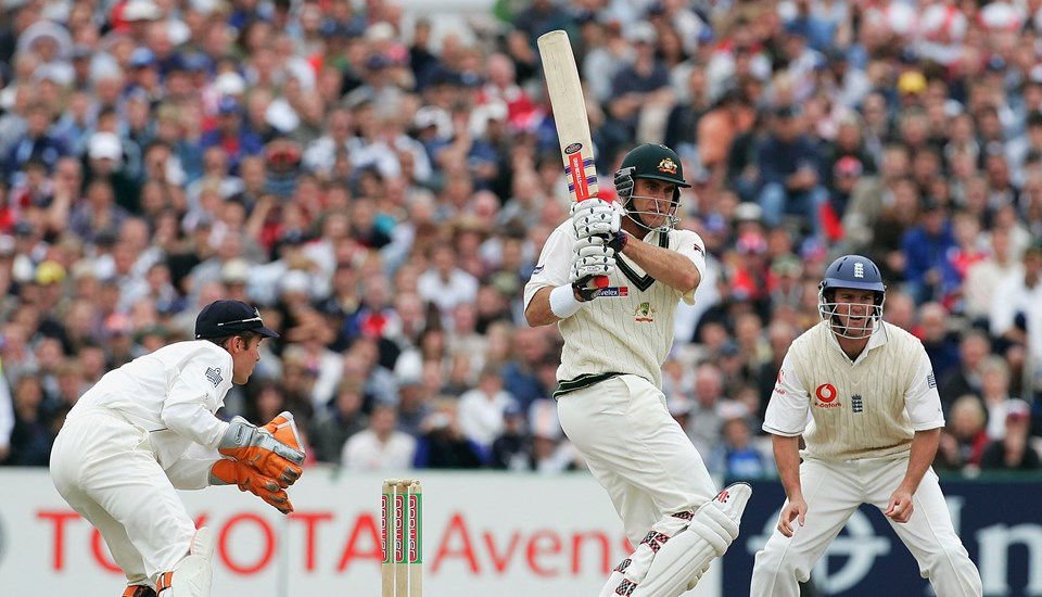 Matthew Hayden of Australia in action during day five of the Third npower Ashes Test between England and Australia played at Old Trafford.jpg