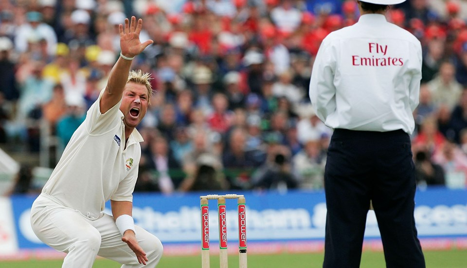 Shane Warne appeals for LBW in the 2005 Ashes test at Emirates Old Trafford cricket ground.jpg