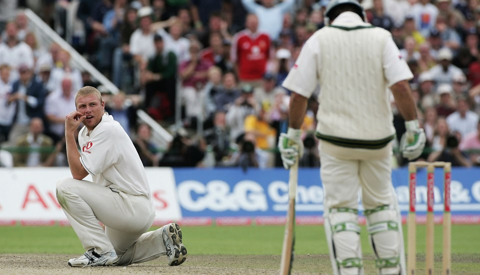 Andrew Flintoff looking on as Australian Ricky Ponting scored a Century in Ashes cricket.jpg