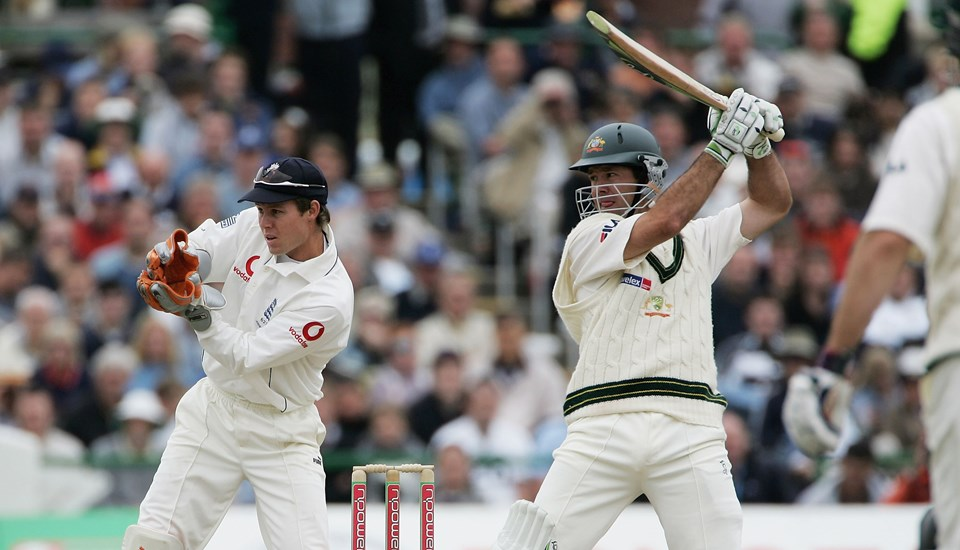Australian captain Ricky Ponting hits out watched by Geraint Jones of England during day five of the Third npower Ashes Test match between England and Australia.jpg