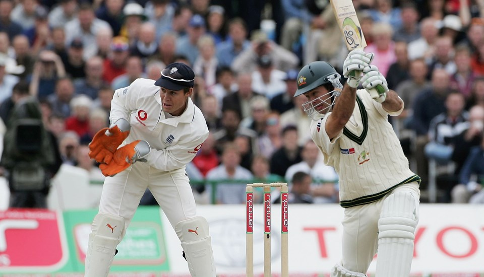 Australian Captain Ricky Ponting hitting a drive during the Ashes Test Match.jpg