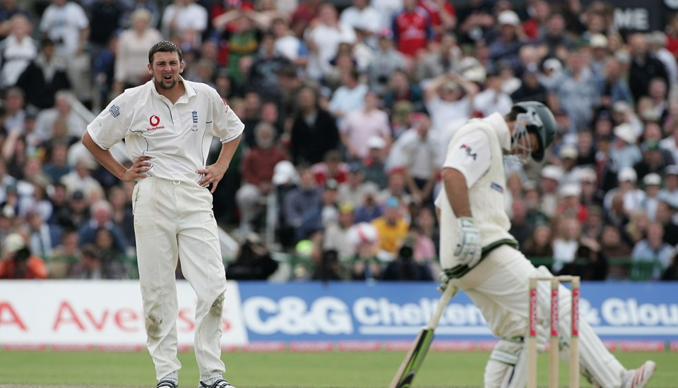 Steve Harmison is frustrated by Ricky Ponting during the Ashes Test at Emirates Old Trafford, Lancashire Cricket Club.jpg