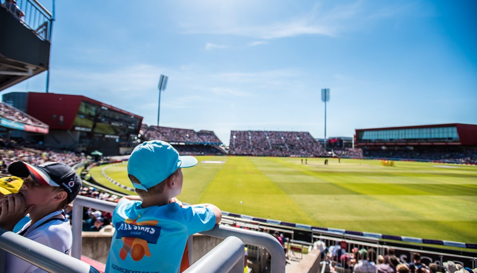Junior fans looking at the pitch at Emirates Old Trafford during the Vitality Blast competition.jpg