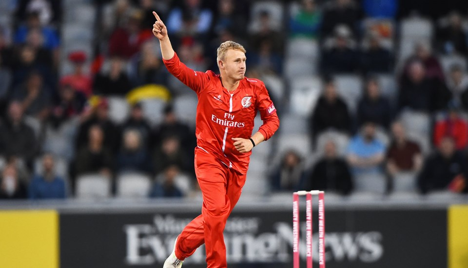 Matthew Parkinson celebrates a wicket for lancashire lightning against birmingham bears at emirates old trafford in the vitality blast.jpg