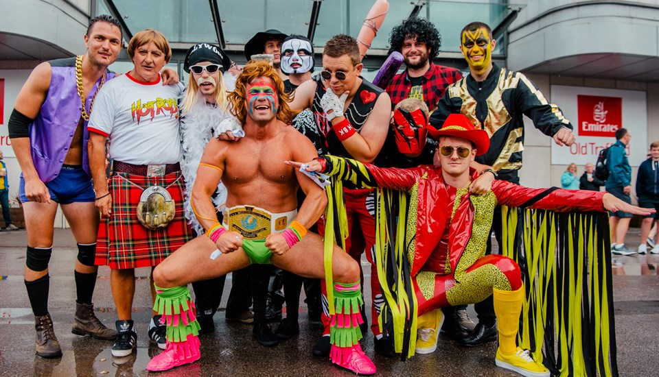 Fans in fancy dress during the Lancashire v Yorkshire T20 match at Emirates Old Trafford.jpg