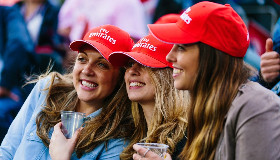 Ladies pose for a selfie at the Lancashire v Yorkshire T20.jpg